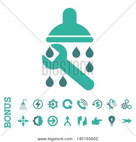 Shower Plumbing vector bicolor icon. Image style is a flat pictogram symbol, cobalt and cyan colors, white background.