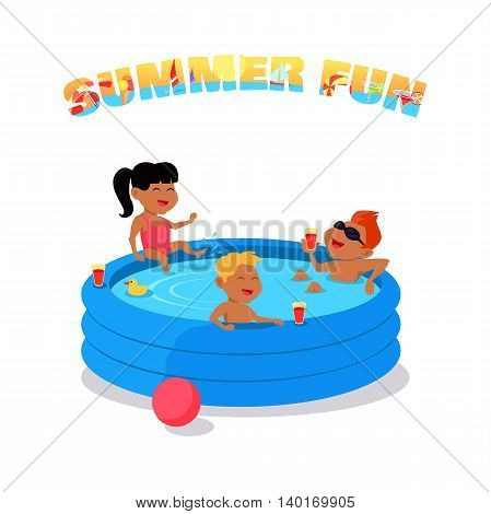 Summer fun conceptual vector. Family holiday with children illustration. Games in the water. Flat style design. Kids swimming and have fun in inflatable pool. Isolated on white background.