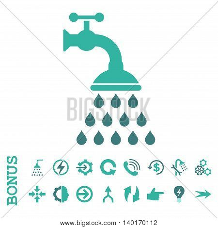 Shower Tap vector bicolor icon. Image style is a flat pictogram symbol, cobalt and cyan colors, white background.