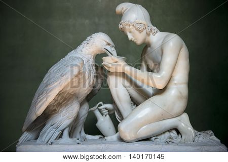 COPENHAGEN, DENMARK - June 26: Ganymede with Jupiter Eagle, sculpture by Bertel Thorvaldsen, Thorvaldsens museum, Copenhagen, Denmark, on June 26, 2015.