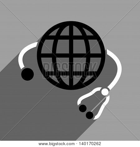Global Medicine long shadow vector icon. Style is a flat global medicine black and white iconic symbol on a gray square background.