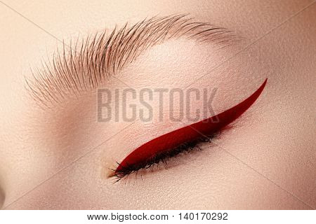 Elegance Close-up Of Beautiful Female Eye With Fashion Trend Bri