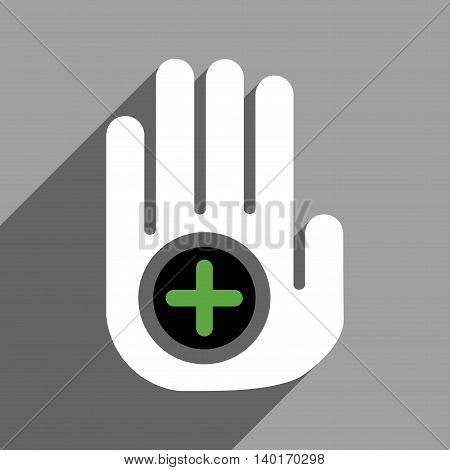 Hand Medical Marker long shadow vector icon. Style is a flat hand medical marker black and white iconic symbol on a gray square background.