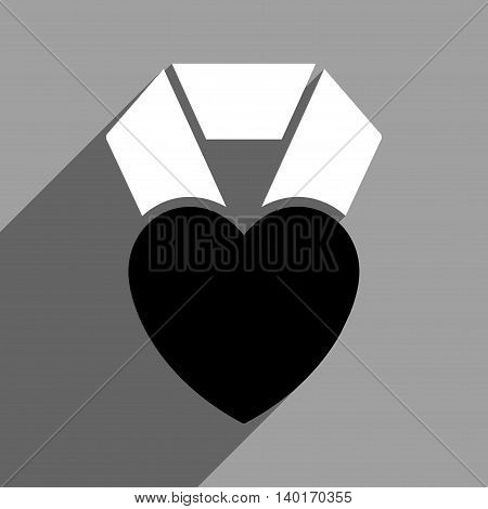 Heart Award long shadow vector icon. Style is a flat heart award black and white iconic symbol on a gray square background.