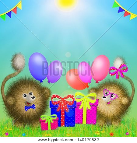 fictional cartoon animals standing on the grass with gifts and colored balloons