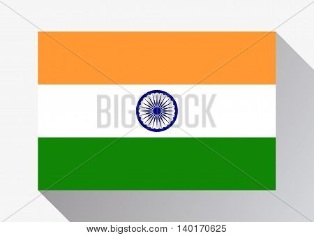 India flag on a gray background. Flat design style. Vector illustration