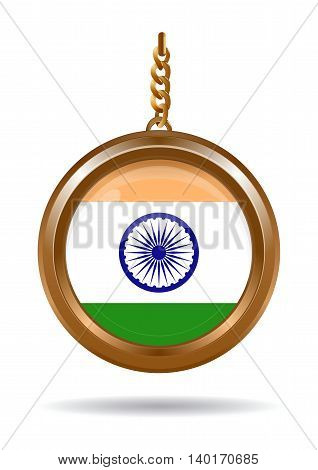 Gold medallion on a chain with an Indian flag inside. Vector illustration isolated on white background