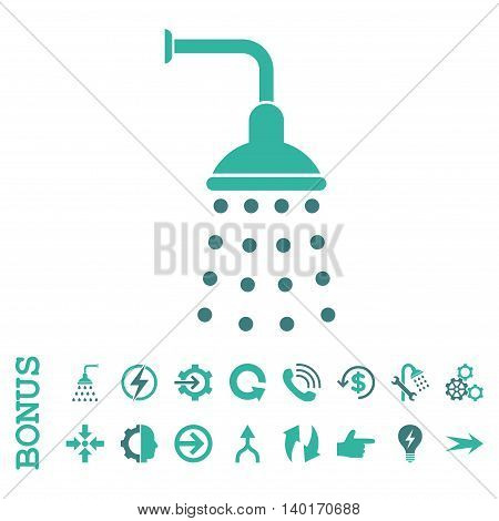 Shower vector bicolor icon. Image style is a flat pictogram symbol, cobalt and cyan colors, white background.