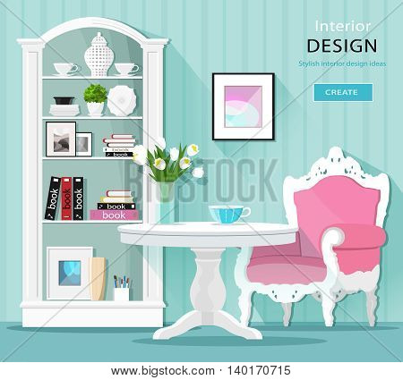 Cute stylish graphic room decor. Light colored room interior with table, armchair and cupboard. Flat style vector illustration.
