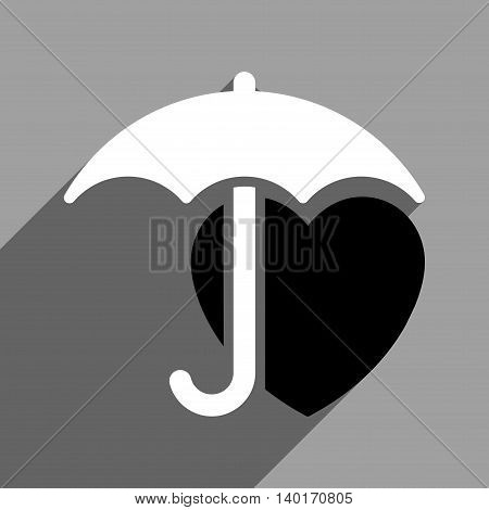 Heart Umbrella Protection long shadow vector icon. Style is a flat heart umbrella protection black and white iconic symbol on a gray square background.