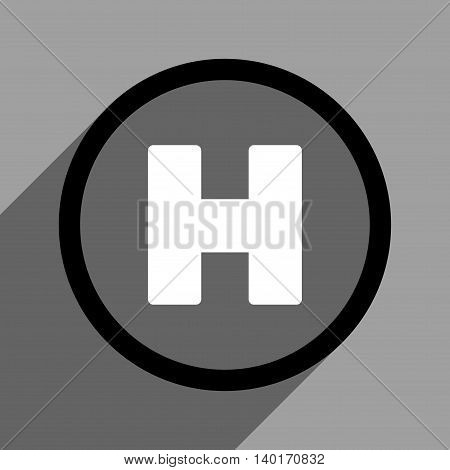 Helicopter Landing Circle long shadow vector icon. Style is a flat helicopter landing circle black and white iconic symbol on a gray square background.