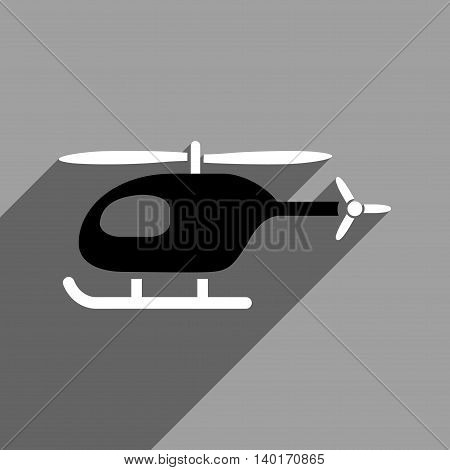 Helicopter long shadow vector icon. Style is a flat helicopter black and white iconic symbol on a gray square background.