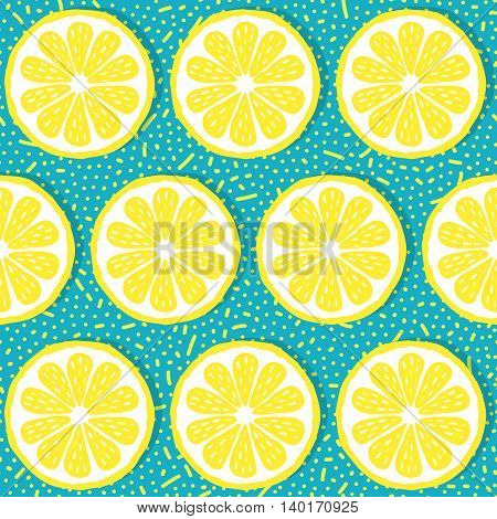 Seamless pattern with lemons-vector illustration. Slices of lemon on the background of dots and sticks. EPS 10