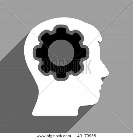 Human Mind long shadow vector icon. Style is a flat human mind black and white iconic symbol on a gray square background.