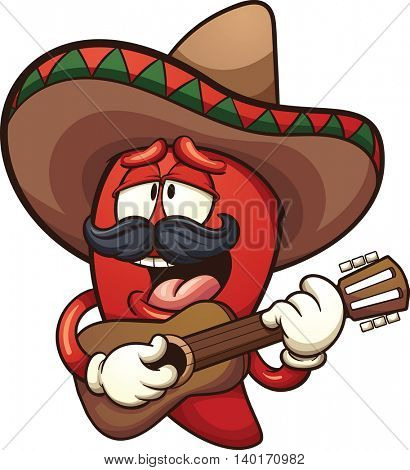 Mexican chili pepper singing with a guitar. Vector clip art illustration with simple gradients. All in a single layer.