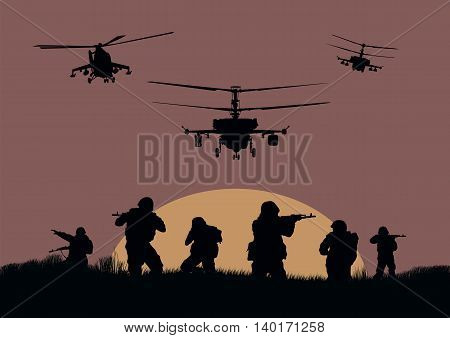 Illustration the soldiers going to attack and helicopters.