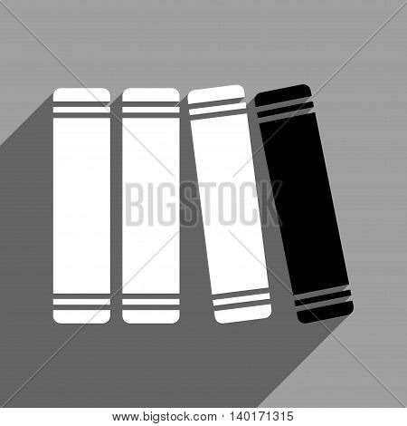 Library Books long shadow vector icon. Style is a flat library books black and white iconic symbol on a gray square background.