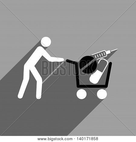 Medical Shopping Cart long shadow vector icon. Style is a flat medical shopping cart black and white iconic symbol on a gray square background.