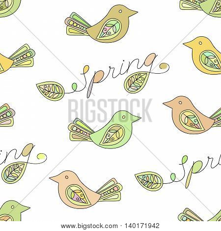 Spring seamless pattern with birds and Spring inscription. Design element for background, textile, paper packaging, wrapping paper and other. Vector illustration.