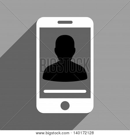Mobile Contact long shadow vector icon. Style is a flat mobile contact black and white iconic symbol on a gray square background.