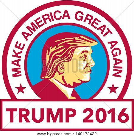 July 27, 2016: Illustration showing Republican Party presidential president 2016 candidate Donald John Trump set inside circle with words
