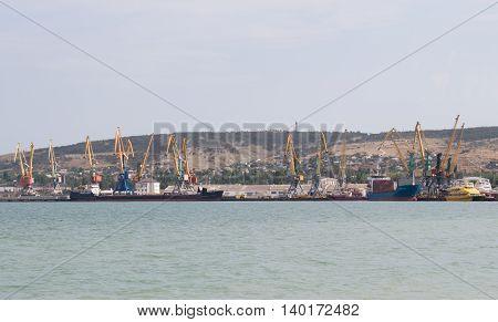 Cranes in the seaport on the Black Sea. Crimea
