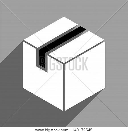 Package long shadow vector icon. Style is a flat package black and white iconic symbol on a gray square background.