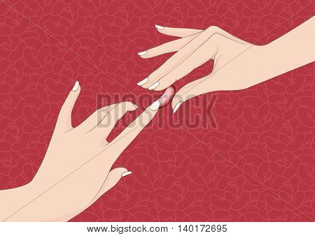 Abstract picture about hands touching a bean