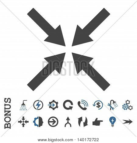 Center Arrows vector bicolor icon. Image style is a flat pictogram symbol, cobalt and gray colors, white background.