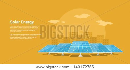 picture of solar batteries with mountains city silhouette on background flat style concept of renewable solar energy