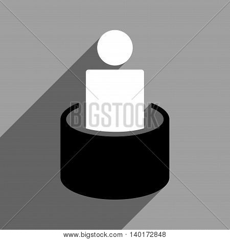 Patient Isolation long shadow vector icon. Style is a flat patient isolation black and white iconic symbol on a gray square background.