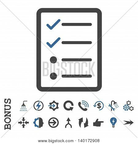 Checklist Page vector bicolor icon. Image style is a flat iconic symbol, cobalt and gray colors, white background.