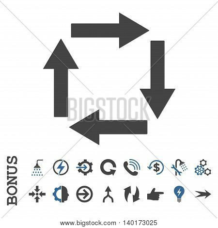 Circulation Arrows vector bicolor icon. Image style is a flat iconic symbol, cobalt and gray colors, white background.
