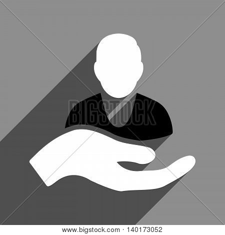 Person Assistance long shadow vector icon. Style is a flat person assistance black and white iconic symbol on a gray square background.