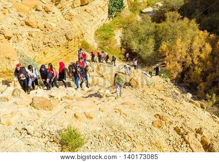 EIN GEDI ISRAEL - FEBRUARY 17 2016: Thre group of children hike in the Nature Reserve along the rocky slopes on February 17 in Ein Gedi.