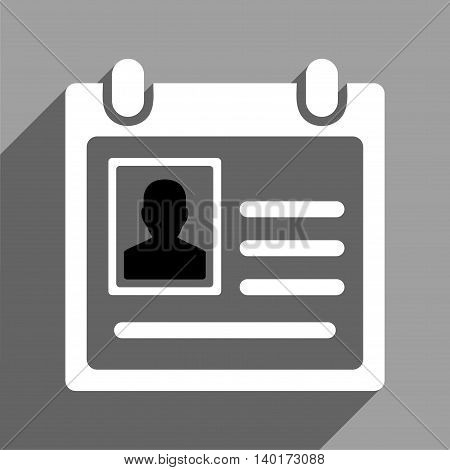 Personal Badge long shadow vector icon. Style is a flat personal badge black and white iconic symbol on a gray square background.