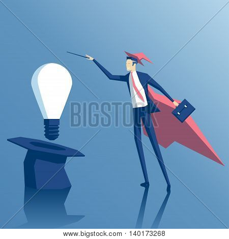 Businessman wizard gets idea out of a hat Businessman magician creates the idea of using magic