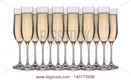 Set of champagne glasses with bubbles isolated on a white background.
