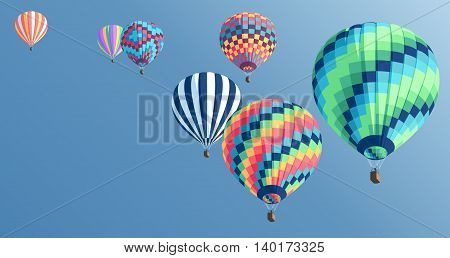 Multi-colored hot air balloons floating in the sky colorful hot air balloons collection