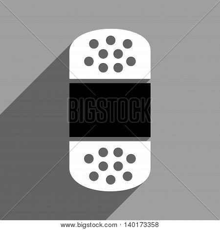 Plaster long shadow vector icon. Style is a flat plaster black and white iconic symbol on a gray square background.