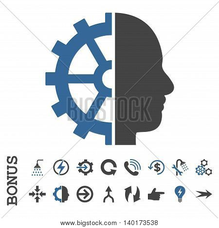 Cyborg Gear vector bicolor icon. Image style is a flat iconic symbol, cobalt and gray colors, white background.