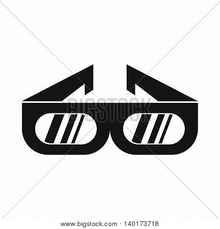 Glasses for 3D movie icon in simple style isolated on white background. Watching film symbol