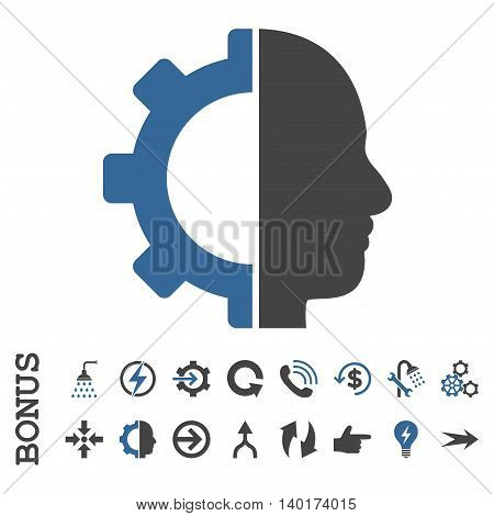 Cyborg Gear vector bicolor icon. Image style is a flat pictogram symbol, cobalt and gray colors, white background.