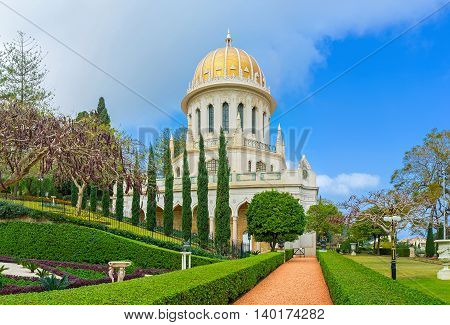 The Shrine of the Bab located in Haifa and also known as Bahai Shrine surrounded by beautiful garden Haifa Israel.