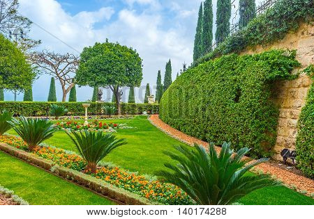 The Bahai Garden impresses with its beauty and spiritual atmosphere Haifa Israel.