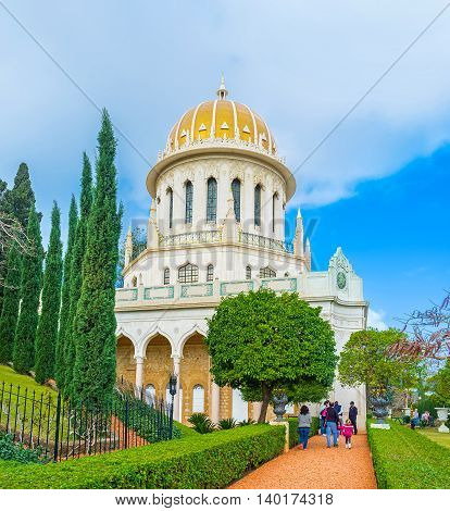 HAIFA ISRAEL - FEBRUARY 20 2016: The tourists visit Bahai Shrine one of the most interesting landmarks of the city on February 20 in Haifa.