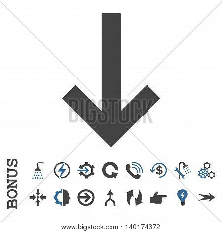 Down Arrow vector bicolor icon. Image style is a flat iconic symbol, cobalt and gray colors, white background.