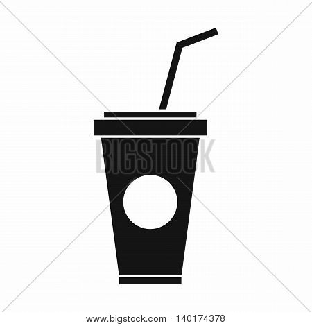 Paper cup with straw icon in simple style isolated on white background. Drink symbol