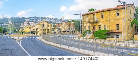 The Ben Gurion Boulevard connects the German Colony with the lower level of Bahai Gardens Haifa Israel.