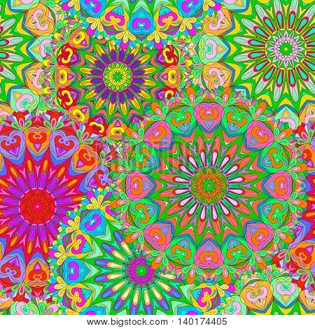 Colorful seamless pattern mandala can be used for wallpaper pattern fills web page background surface textures.